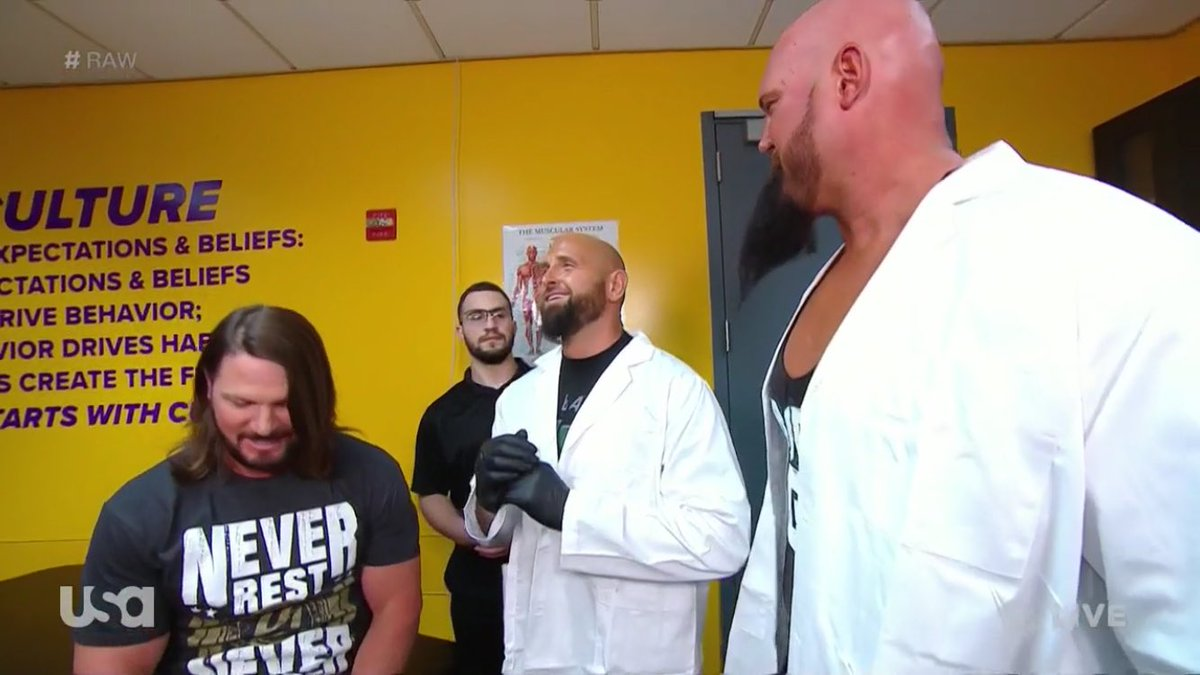 AJ tells Gallows & Anderson that he believes they lost their touch. He asked them when was the last time they were even on WWE. AJ went on to say let's see if you can beat the best tag team in the world. #Raw #PhenomenalOne