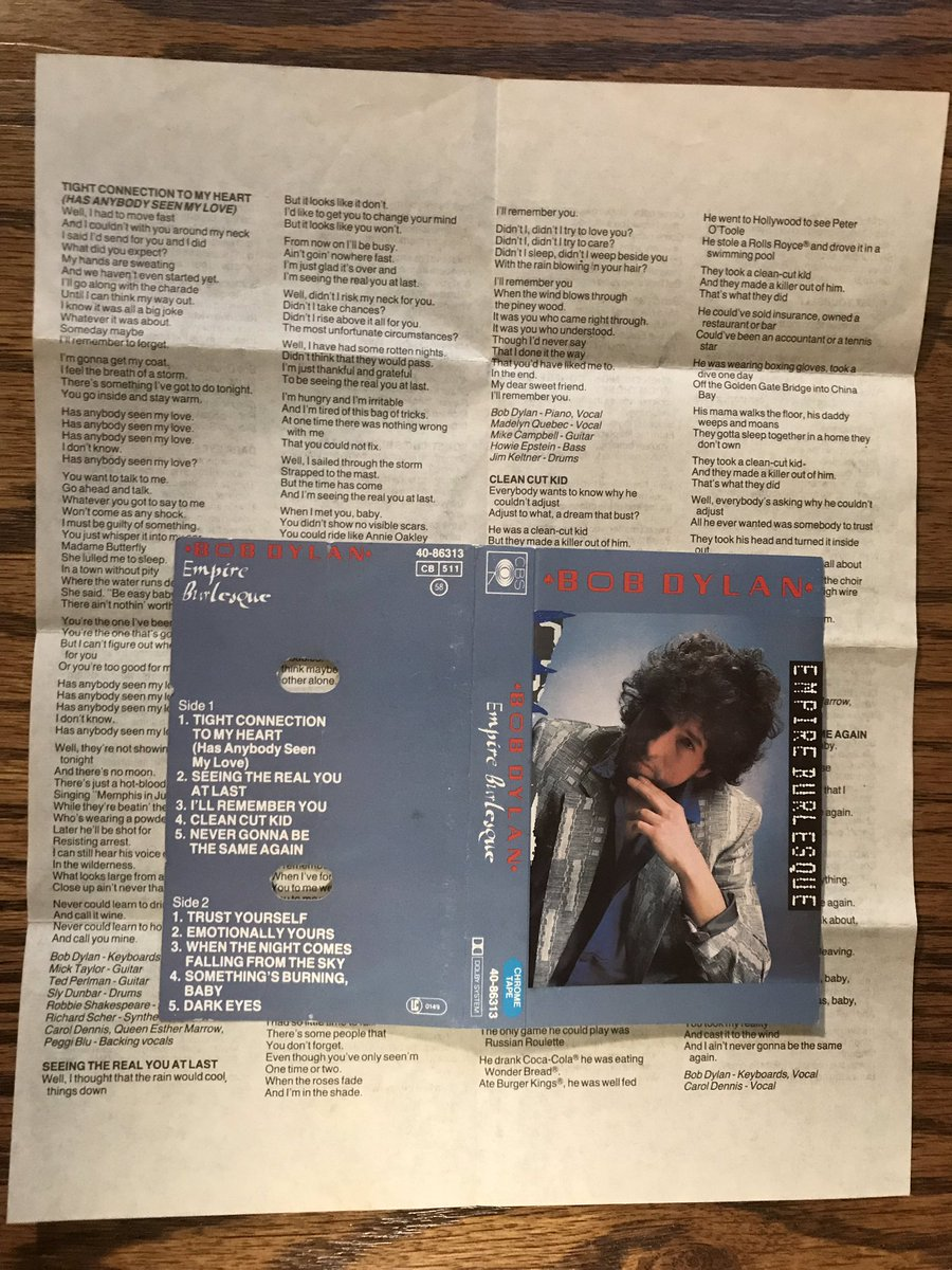 Official lyric sheet that accompanied some cassette copies of Empire Burlesque (1985). #BobDylan <br>http://pic.twitter.com/IBuWaMR9Cm