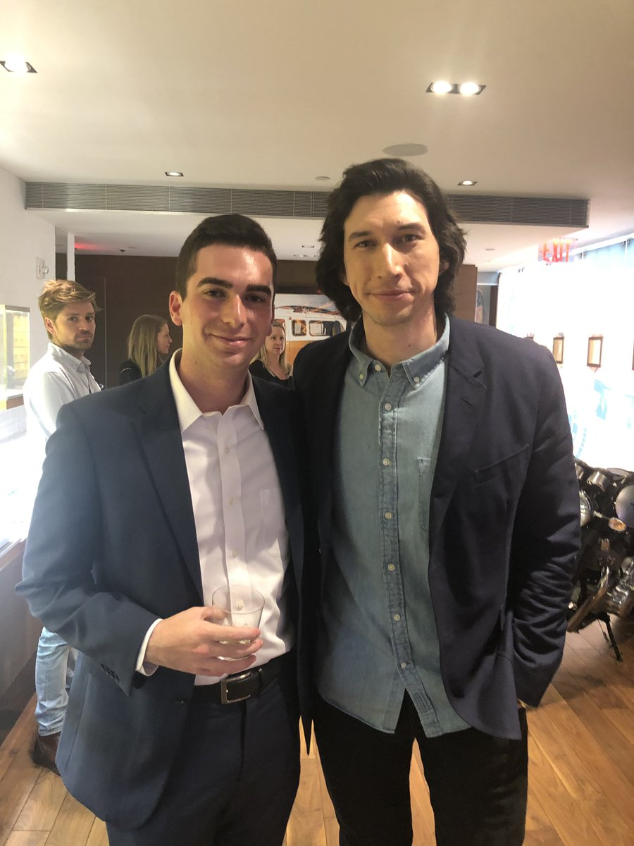 That time when, on his first day on the job after college, you get to hook your son up with Adam Driver. What's wrong with peaking early?