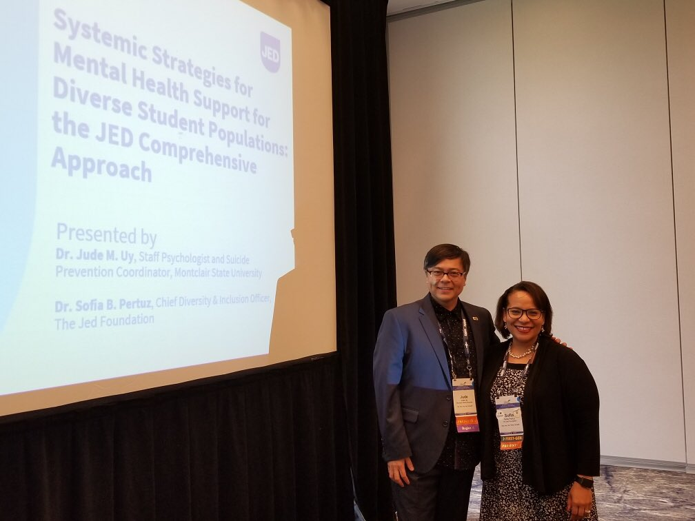 """I appreciate the opportunity to rep @jedfoundation & present with my @montclairstateu colleague Dr. Jude Uy on """"Strategies for Mental Health Support for Diverse Student Populations"""" at the @NASPAtweets & having awesome @HofstraU colleagues attend our session was a bonus! #SSHE19"""