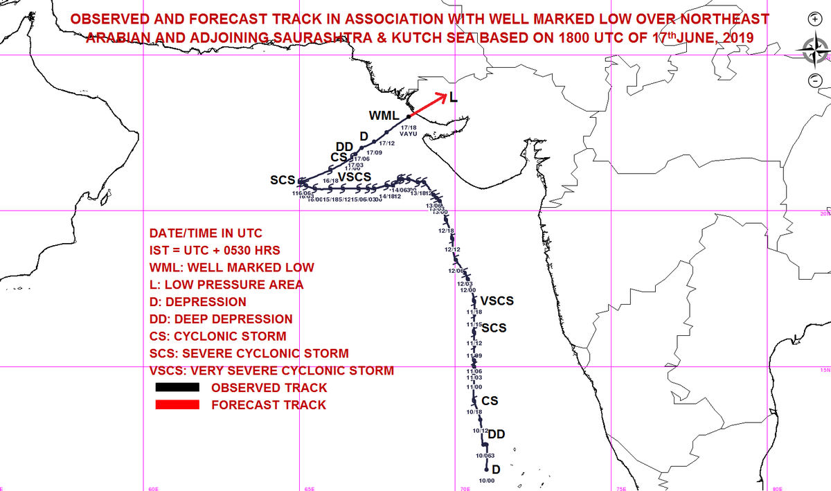 Cyclone Vayu weakened as low pressure area crosses Kutch coast causing rains in Kutch, Saurashtra, North Gujarat