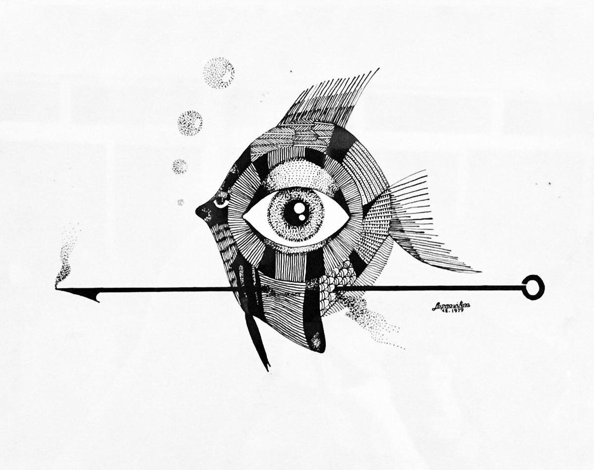 Totonho Laprovitera - Peixe Olho - 1979 - Bico de pena - 21x30cm.  #arte #art #desenho #draw #dibujo #disegno #dessin