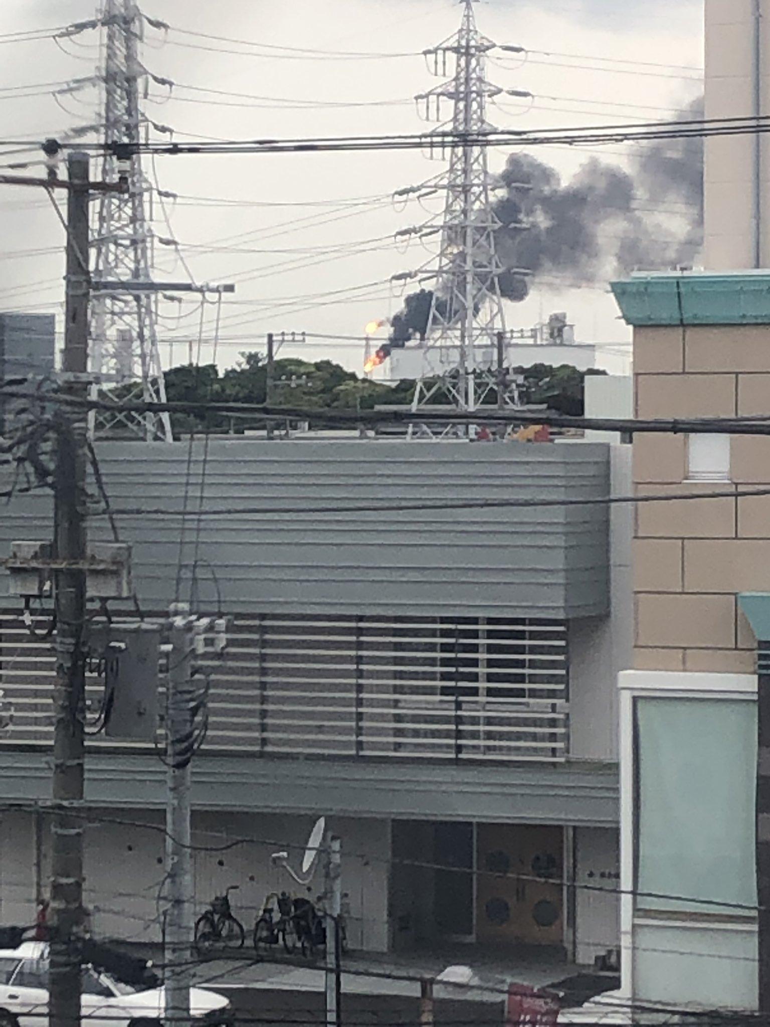 千葉市中央区付近で火事が起きている現場画像