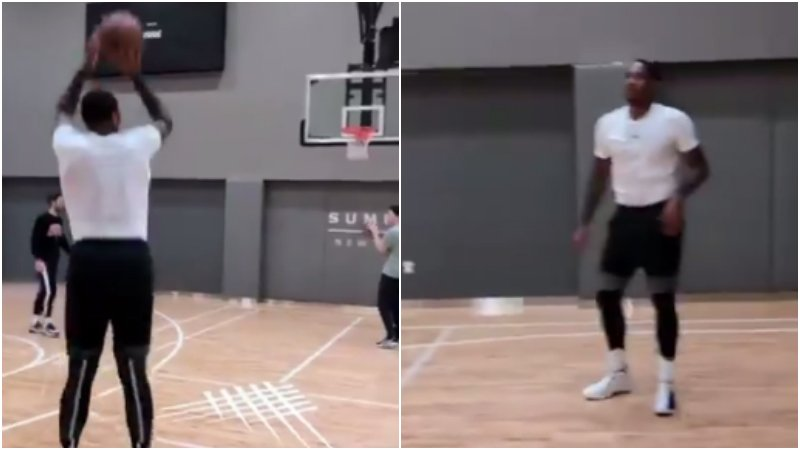 【影片】外線22投21中!甜瓜訓練連中17個三分,他已為重返NBA做好準備?-籃球圈