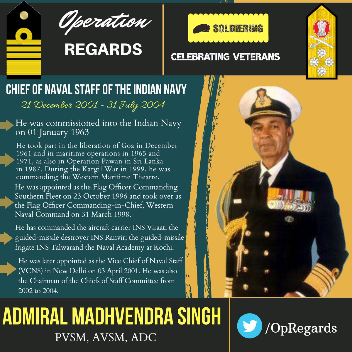 #OpRegards  We are celebrating #navy veteran Admiral Madhvendra Singh who served as CNS of the #IndianNavy. After his retirement, he has taken up the role of an #entrepreneur. He turned his ancestral heritage house into the Devi Niketan Heritage Hotel in #Jaipur. Thank you!<br>http://pic.twitter.com/YSZedIp9uG
