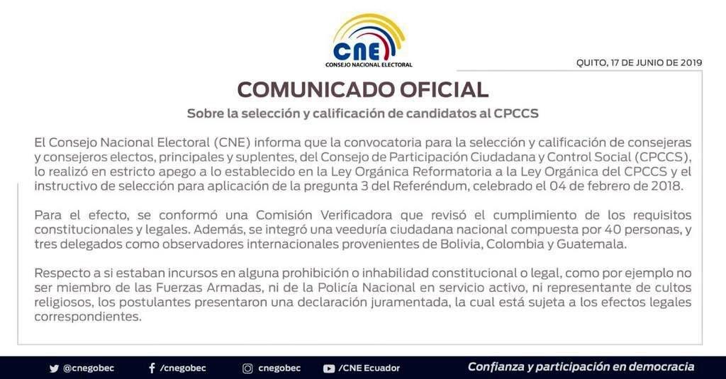 IMPORTANTE   Con declaración juramentada presentada ante la Comisión Verificadora, integrada por @cnegobec transitorio, los postulantes al @CPCCS expresaron no incurrir en prohibiciones o inhabilidades constitucionales y legales. ▶️ Aquí más detalles: