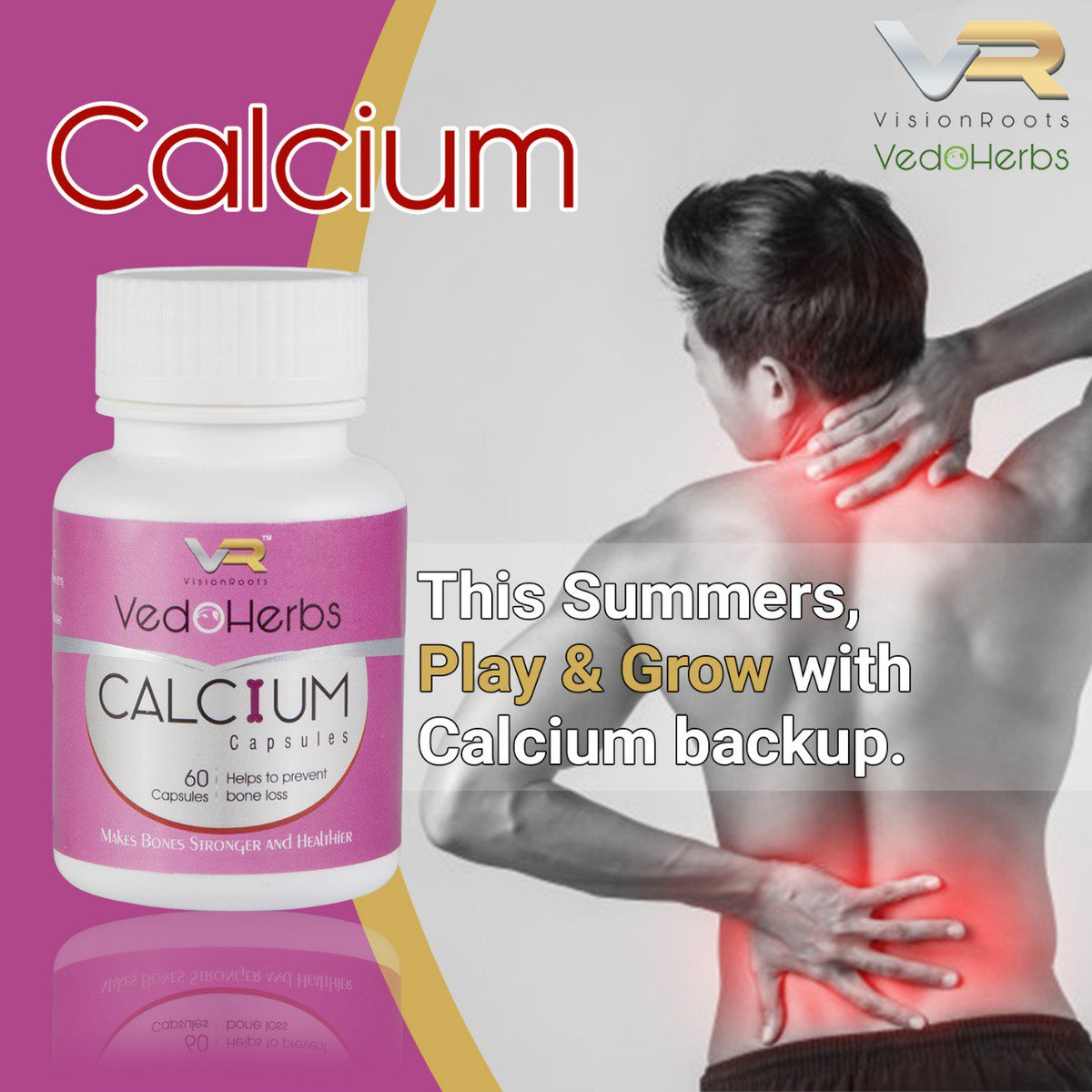 Don't worry about your calcium intake and enjoy this summers with our Calcium Capsule. . . Use VisionRoots products & feel the difference naturally. . . Contact Us - http://www.visionroots.co.in  . . #visionroots #vedoherbs #calcium #calciumcapsules #summercare #summers