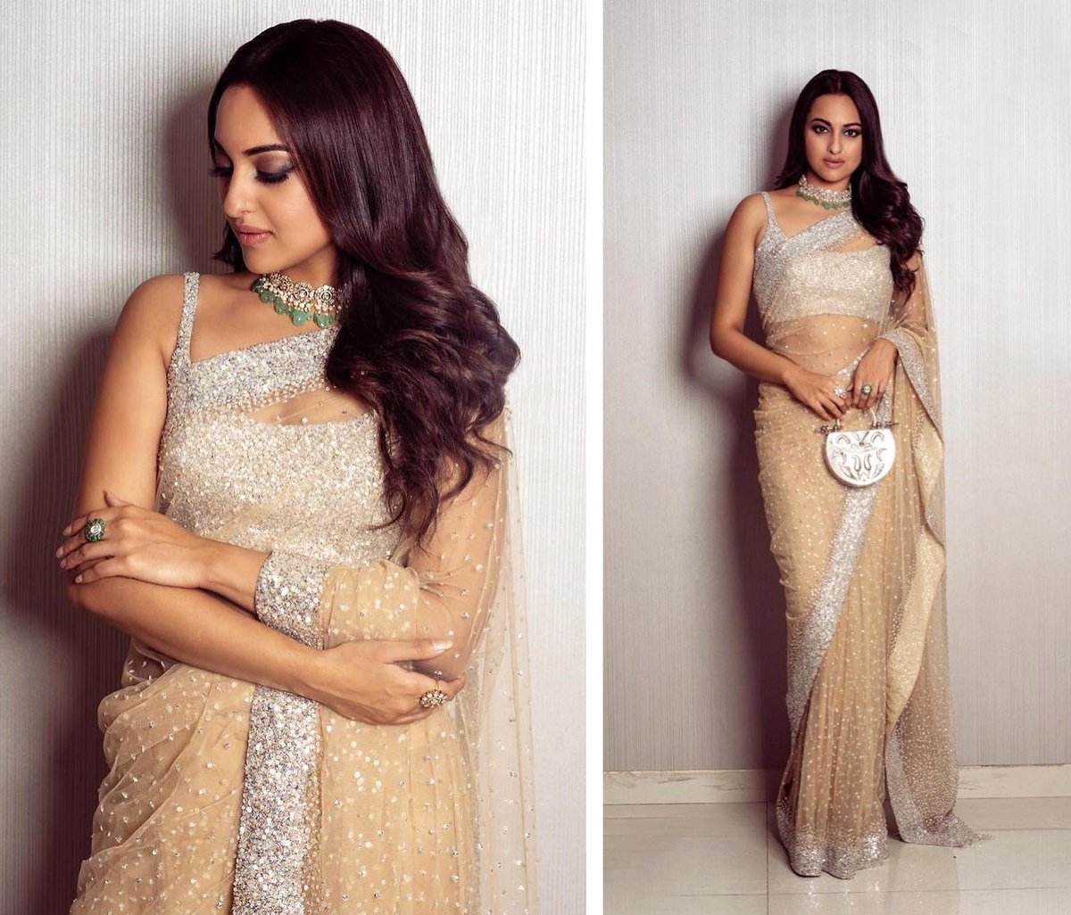 Ranjna On Twitter Sonakshi Sinha Looks Stunning In A Designer Saree At A Wedding Event In Mumbai Image Source Sonakshi Sinha Instagram Sonakshisinha Designersaree Shimmeringsaree Saree Partywear Indianpartywear Weddingwear Designerwear