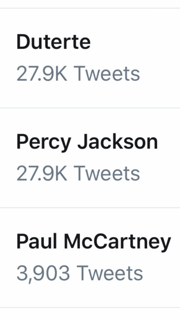 Percy Jackson trending on twitter because everybody is tweeting asking why Percy Jackson is trending on twitter is basically twitter just eating it's own ass.