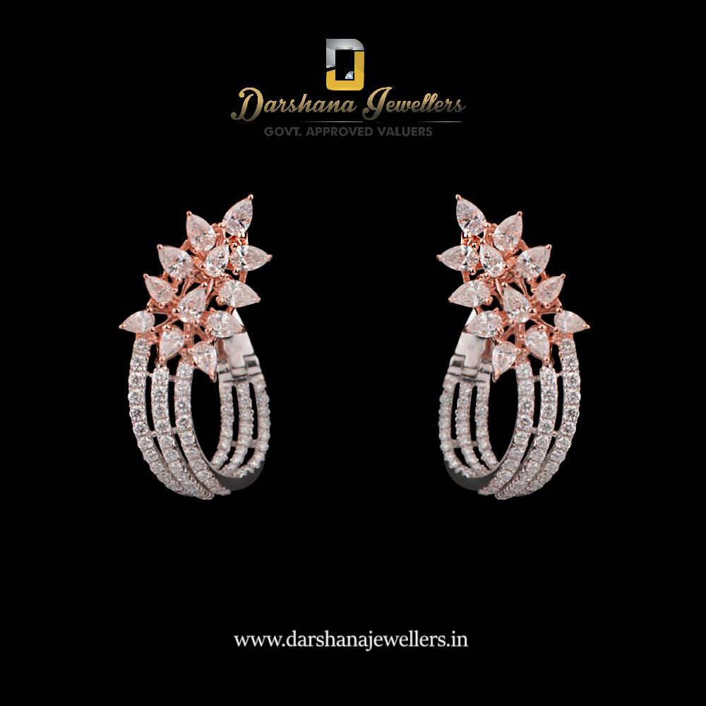 adca163bd Diamond Studded Rose Gold pair of earrings with round & pear shape diamonds.  A beautiful masterpiece created for your loved ones. For more designs visit  our ...