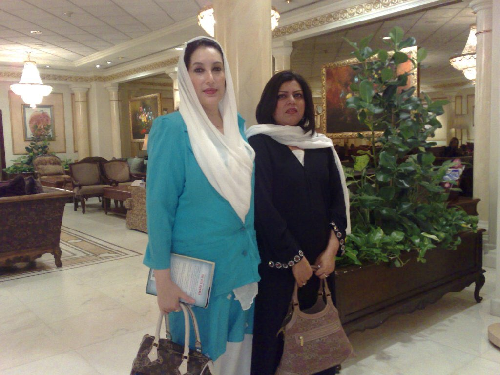 """18th June 2007, this photograph was taken at VIP lounge, King Abdulaziz International Airport, Jeddah, KSA. On this date Shaheed Benazir Bhutto performed her last Umrah.  She said """"I am glad we have performed Umrah today, today is 18, one & eight is nine & 9 is my lucky number"""". <br>http://pic.twitter.com/rZOFkGFLO7"""