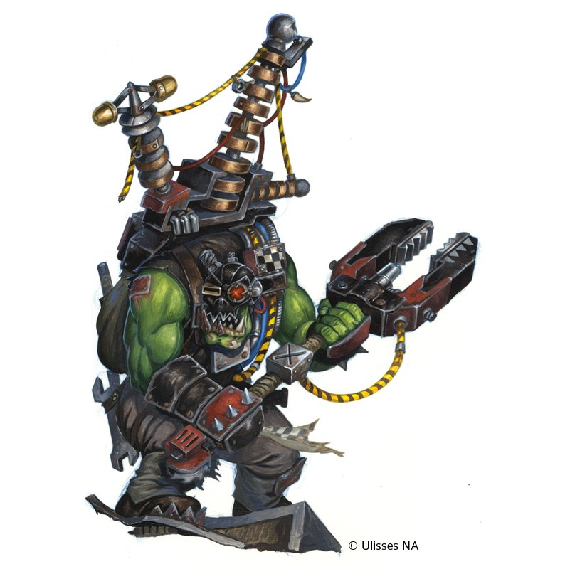 Big Mek Mogs, done for the Wrath & Glory Starterset by @USNAGames then and now went to @cubicle7 recenty. © Ulisses NA Acrylics on heavy bristol paper, 325 x 250mm.  #ork #orc #spaceork #mek #bigmek #character #npc #warhammer40k #wrathandglory #acrylics #painting #originalart