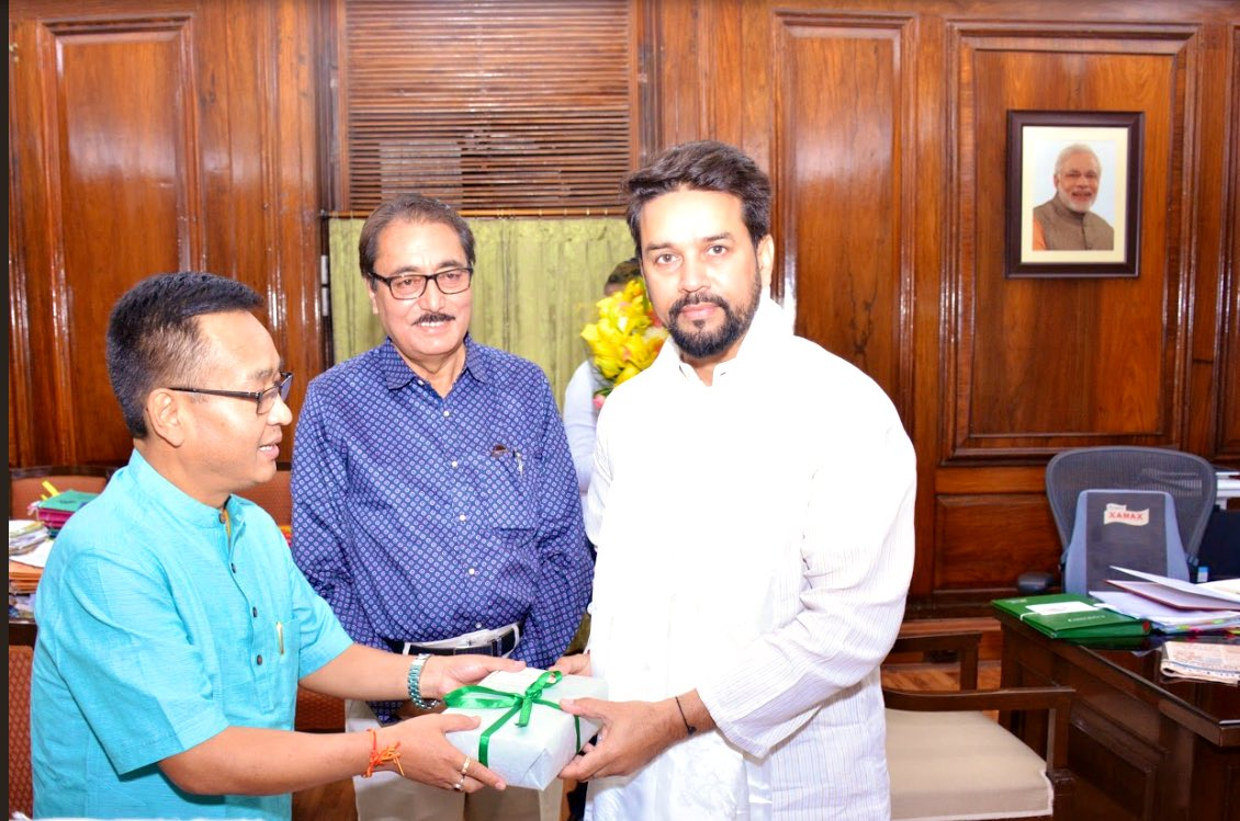 CM Sikkim, Sh @CM_PremSingh met MoS Finance & Corporate Affairs, Sh @ianuragthakur today.  They discussed a range of issues and development of the north eastern region.