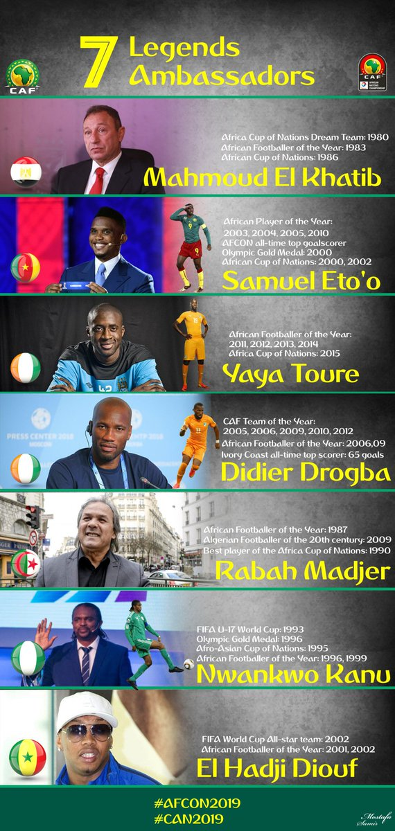 CAF have chosen seven (7) LEGENDS as ambassadors of the #AFCON2019 .   Mahmoud El Khatib   Samuel Eto'o   Yaya Toure   Didier Drogba   Rabah Madjer   Nwankwo Kanu   El Hadji Diouf   #AfricaLegends #TotalAFCON2019  <br>http://pic.twitter.com/Lrkb7TiFTk