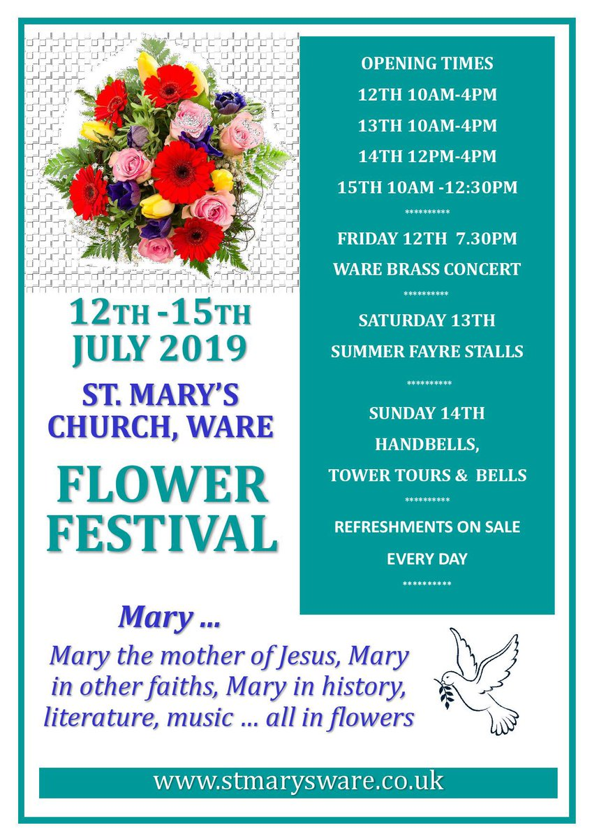 Just putting this here! Please can you come and support and share far and wide @wareinbloom @WareTourism #flowerfestival #ware #stmaryschurch #church @WareTownCouncil @sage_ware @christchware<br>http://pic.twitter.com/eJkcark90E