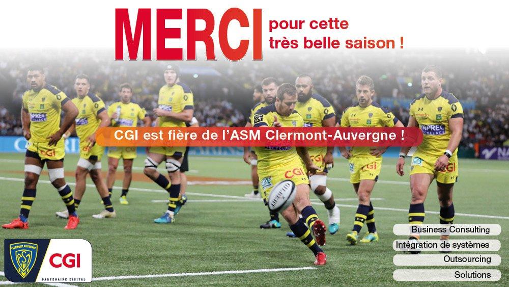 Bravo à l' @ASMOfficiel pour cette belle saison ! On leur donne RDV pour la prochaine dès la rentrée !  Suivez les performances de l'ASM Clermont sur l'app #PoweredbyCGI  📲https://lnkd.in/g5h3jRz 📲https://lnkd.in/gpMx__k  #fierté #ASMST #YellowArmy