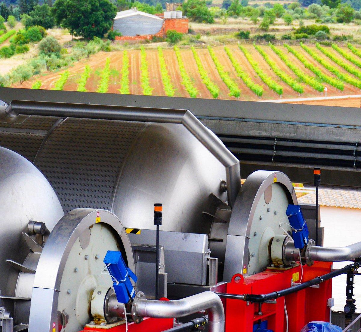 Les Cooperatives esperen el moment de la verema, atentes al creixement i maduració del raïm. Imatge de les premses de la nova #cooperativa d'Agrícola de la Conca amb una vinya de Solivella al fons. #cooperativisme #vinya #vi #vino #wine #cava #vineyard #winelover #ruralcat