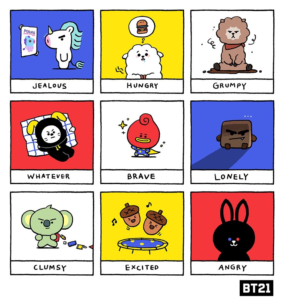 Today I'm feeling : #9cuties #9moods #WhatsYourMood? #GWANG #RK #DJ #CHIEF #TITI #SPOOKY #MOYA #TOLL #IAN #BT21