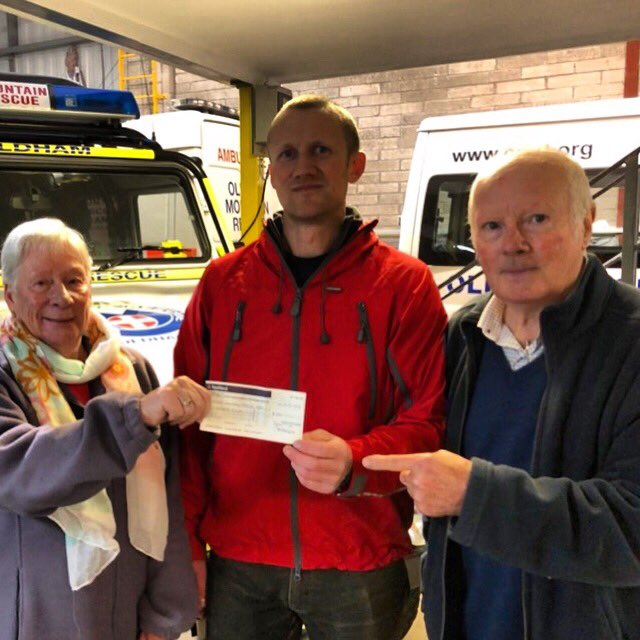 Last week the team's Chairman and Team Leader were delighted to welcome Mr John Walton and his wife to the base to receive a cheque from the Clayton Playing Fields Action Group for £500. Thank you x #charity #volunteers #workingtogether #mountainrescue #thankyou #donations