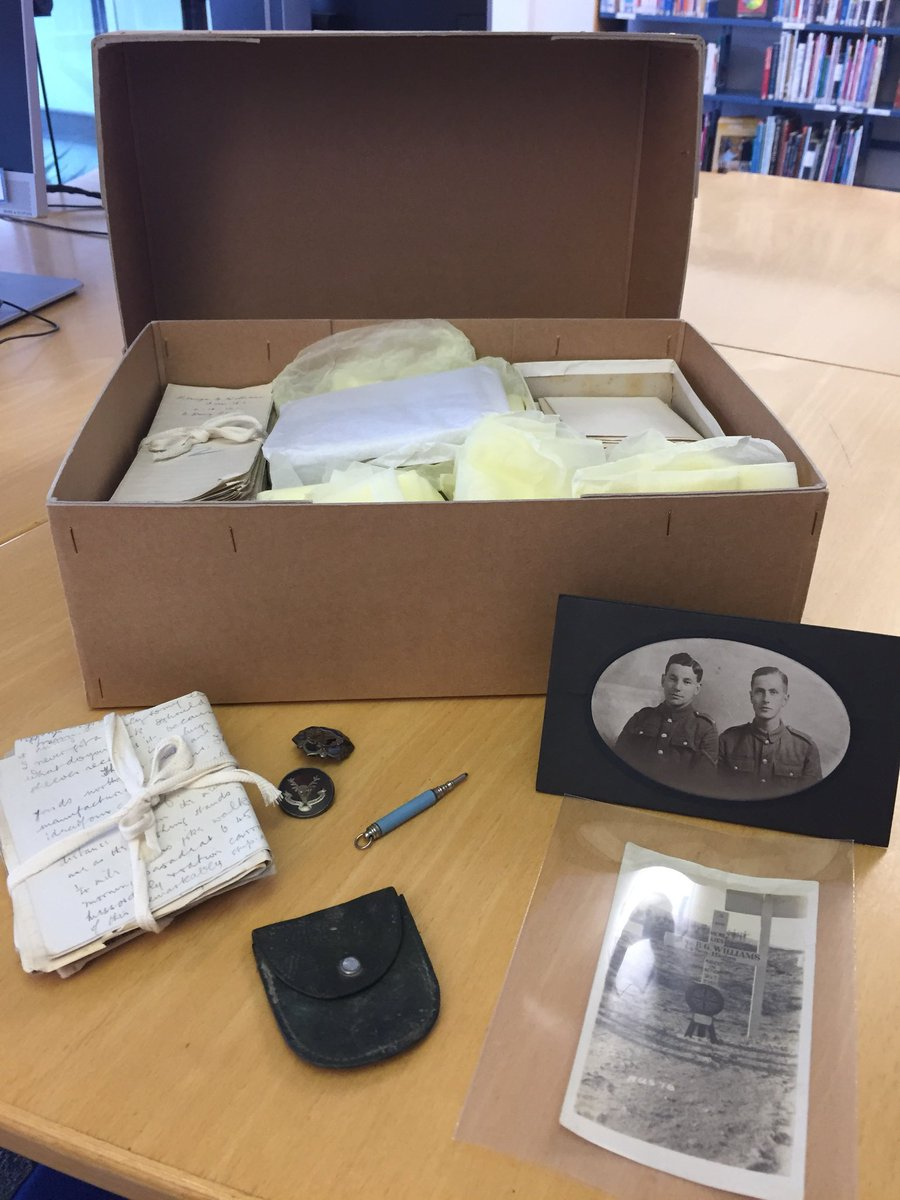 The next box number in @ARAScot's 'What's in the #ArchiveBox?'is 1! It is a WW1 Collection. DC1 holds the records of Berwyn Williams who died aged just 19 killed in action 20/07/1918. It includes items he took to the trenches, letters home and some of his @Hutchesons essays!<br>http://pic.twitter.com/p6v3Ny2Ivq