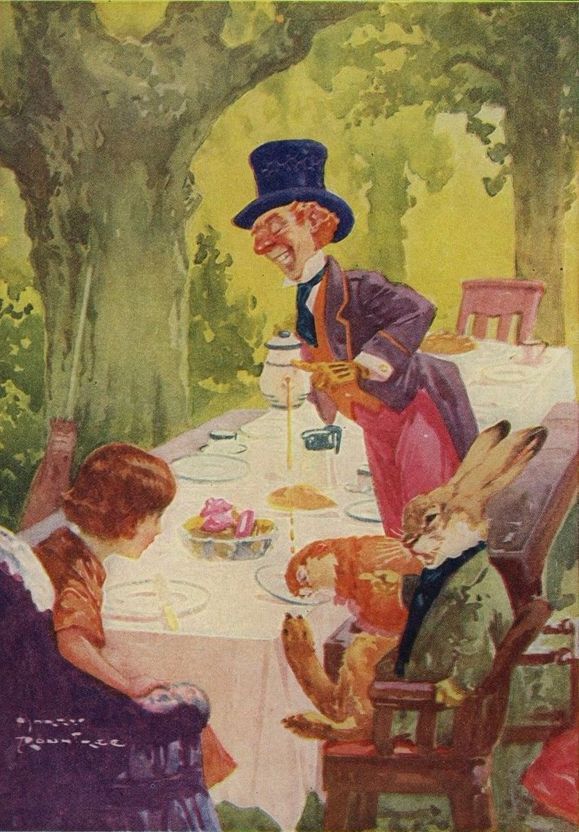 #FairyTaleTuesday The Mad Hatter's tea party, by Harry Rountree (1878 - 1950 NZ > British) Hugely popular in early 1900s, he produced thousands of #illustrations. In WW1 he was a captain in the Royal Engineers.  He died forgotten and impoverished in Cornwall #vintageillustration<br>http://pic.twitter.com/4JPpdDiV1N