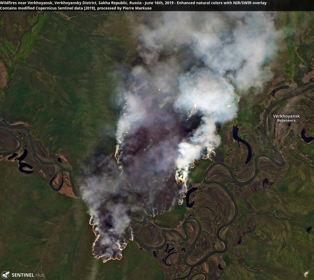 Wildfires near #Verkhoyansk, Verkhoyansky District, Sakha Republic, #Russia 16 June 2019. Copernicus/Pierre Markuse