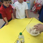 Image for the Tweet beginning: Reception children making bread with