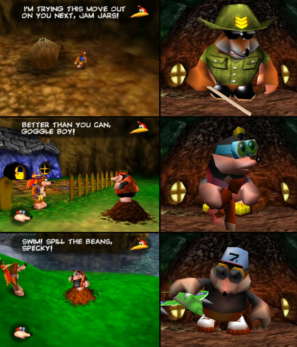 """Most of Bottles' family from Banjo-Tooie was named-dropped in the training sequence in the original Banjo-Kazooie... by way of Kazooie's insults towards Bottles. """"Jam jars"""" was actually his brother Jamjars, """"goggle boy"""" his daughter Goggles and """"specky"""" his son Speccy. #DKUFacts<br>http://pic.twitter.com/ispBBWiIyN"""