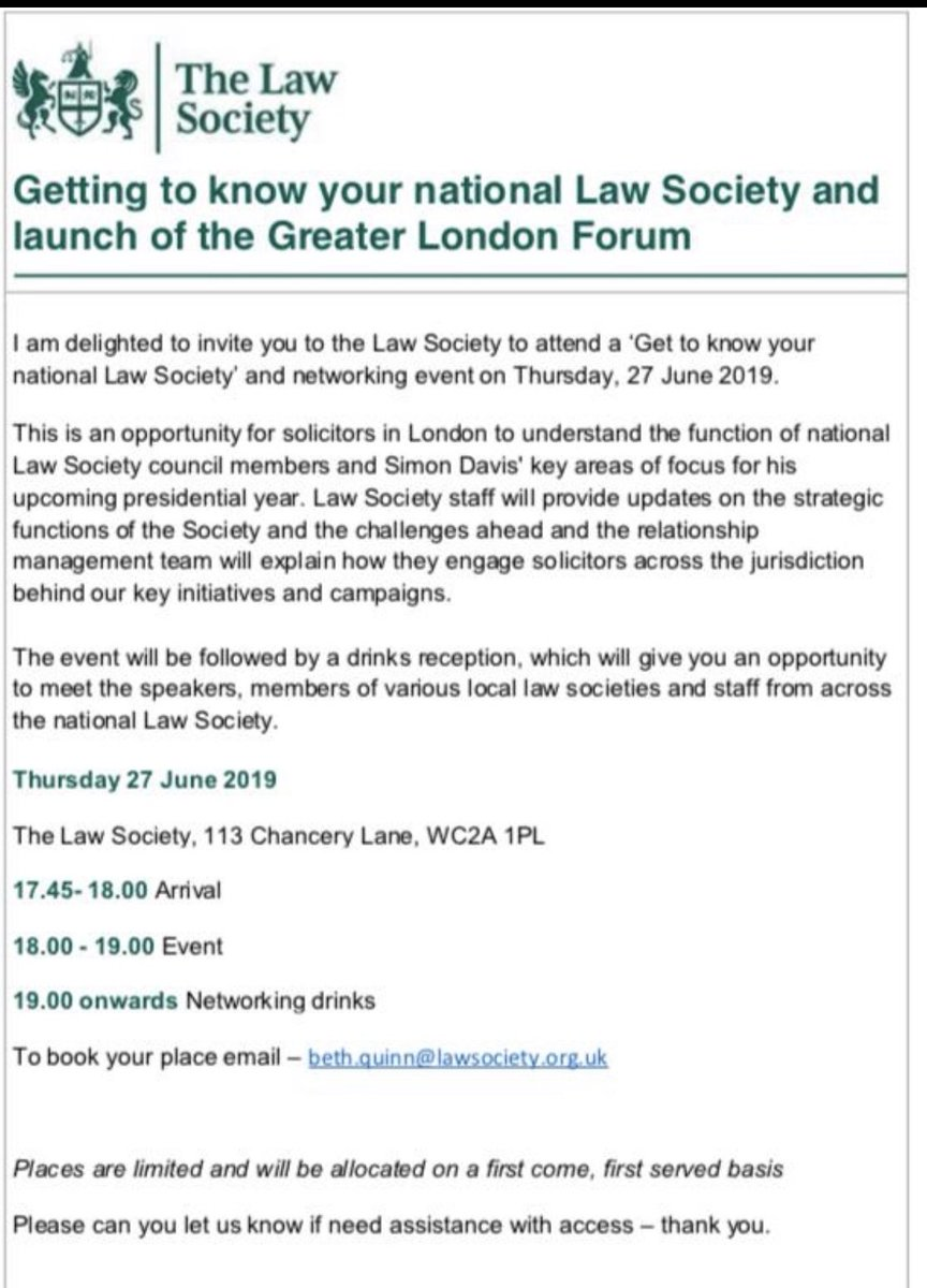 Exciting opportunity to  get to know your national Law Society on Thursday 27 June. Details of the event and how to book your place are set out in the attached flyer. @CWHLawSociety #law #lawsociety
