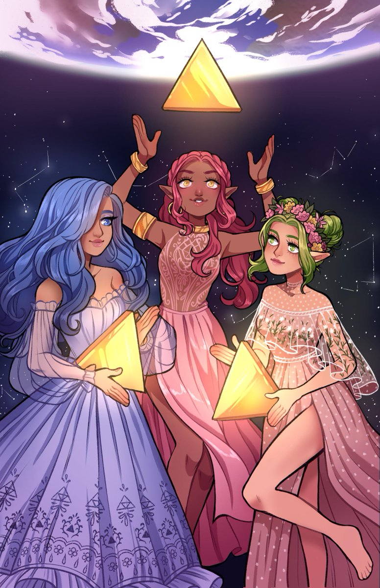 Finished my most recent print, of the three Goddesses from The Legend of Zelda! This is my interpretation of them :) <br>http://pic.twitter.com/idi7KWwKge