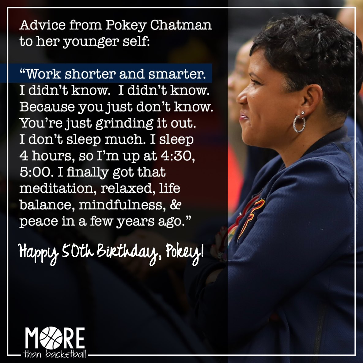 Happy 50th birthday to @indianafever coach @pokeychatman! She shared some wisdom with us a few weeks ago that she has picked up in her 50 years of life and learning. Work shorter and smarter. And find that life balance. Thank you, Pokey! . #wnba #indianafever #fever20
