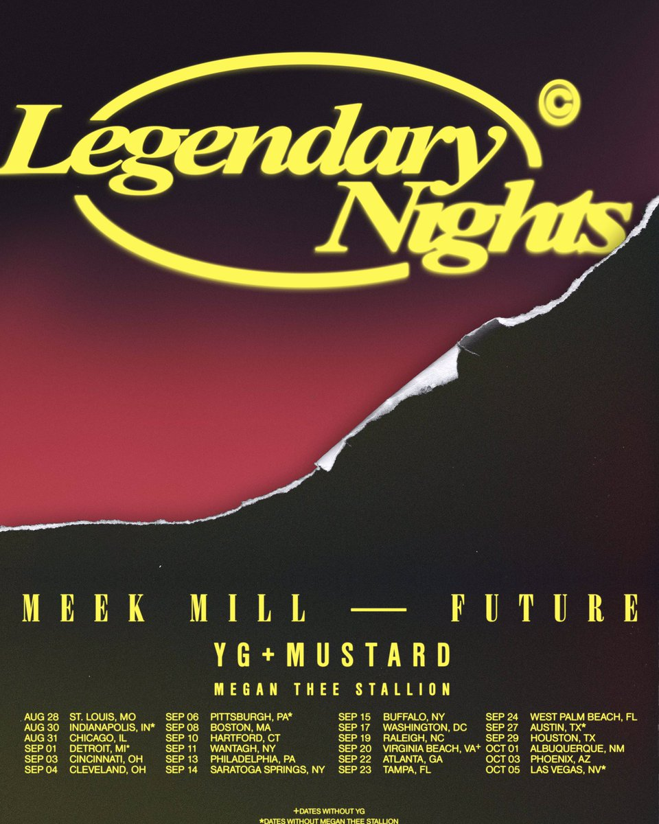 we about to tear shit down on the #LEGENDARYNIGHTS tour with @YG @mustard Megan @theestallion   @TIDAL presale today at 3pm eastern .. Tickets onsale Friday <br>http://pic.twitter.com/muSod4b21u