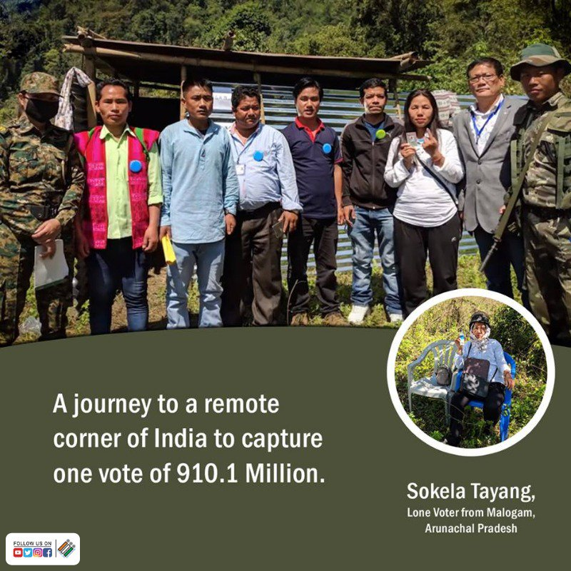 Every Vote Counts! Election Officials traveled 300 miles for over 4 days through the remotest jungle terrains to set up a polling booth - for a single voter in Malogam, #ArunachalPradesh. #ECI expresses gratitude to all such #SilentRanks for their dedication and enthusiasm.