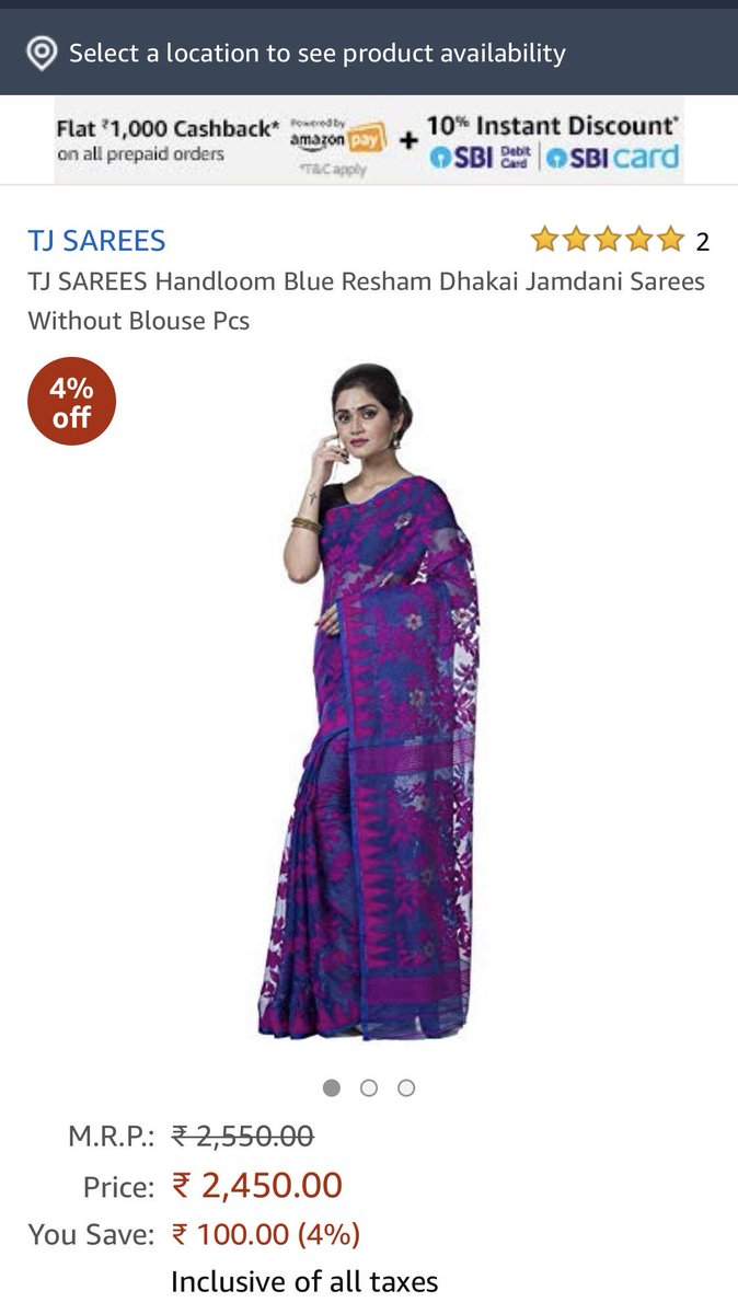 I am shocked at the way consumers are being conned. These sarees are being sold on @amazon as 'Dhakai Resham Handloom' n 'Handloom Kantha'. 1st saree is neither a Dhakai, nor Resham nor handloom, while 2nd is a cheap powerloom synthetic fabric with very ordinary embroidery. <br>http://pic.twitter.com/rsQnXmEru2