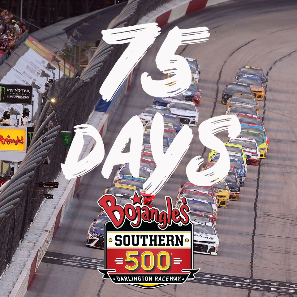 7⃣5⃣ days till the #BojanglesSo500 👏  & ICYMI we've had 9⃣ #throwback paint scheme unveils drop & we're just counting down the days till they're hittin' the track at #TooToughToTame  CATCH UP ON THEM ALL 👉 http://adobe.ly/2IORgcx   #DaysToDarlington