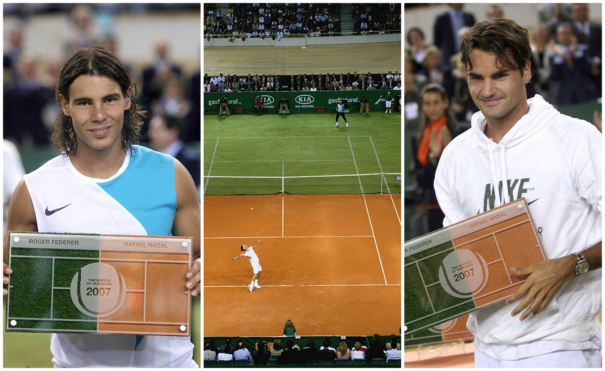 Did you know @RafaelNadal and @rogerfederer once played each other on a court which was half grass, half clay?  Nadal won 7-5 4-6 7-6 🏆