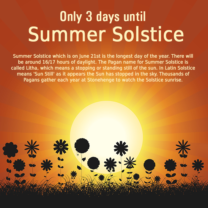 Only 3 days to go until the Summer Solstice. #SummerSolstice