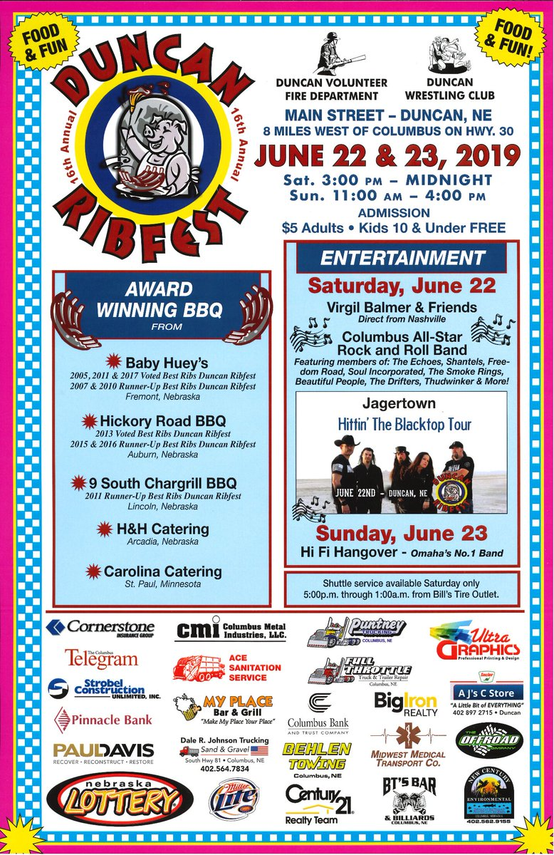 This weekend is the awesome Duncan #Ribfest event! Awesome #BBQ and live bands. What more do you need to make it a great weekend? Enjoy! #VIsitColumbusNe  #music
