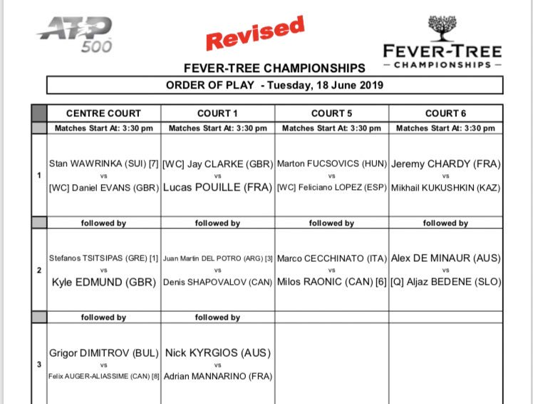 #ATPTour RT QueensTennis: REVISED ORDER OF PLAY   #QueensTennis<br>http://pic.twitter.com/iA7CJ5Iynh