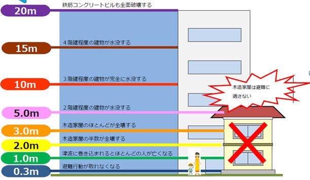 津波1mの予想ですけど、 1mの津波は人がほとんど亡くなるレベルなので絶対に逃げて...!