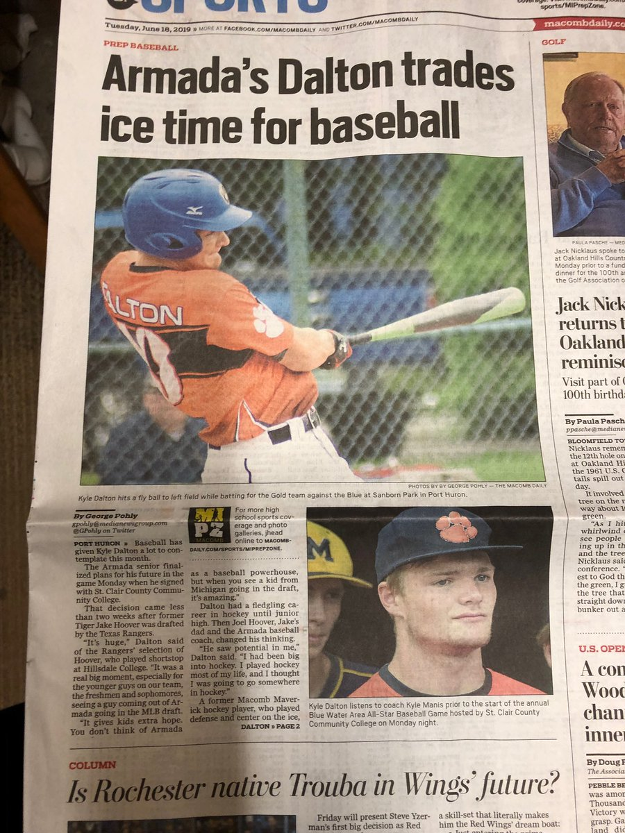 Great write up on our man, @kyledalton88 today. Tiger Nation and the Brew Crew are all proud of you.   Congratulations to @gcoletti10 and Ben Blanco for also participating in the St Clair All Star Game last night.  #MichiganBrewers
