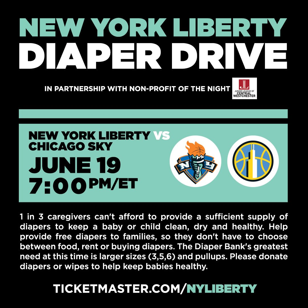 #NYLiberty fans, come out tomorrow night as we look to extend our home game win streak to 3! Also, donate diapers and wipes and help @jlcwestchester keep babies healthy. Need a ticket to the game? http://www.ticketmaster.com/nyliberty🗽