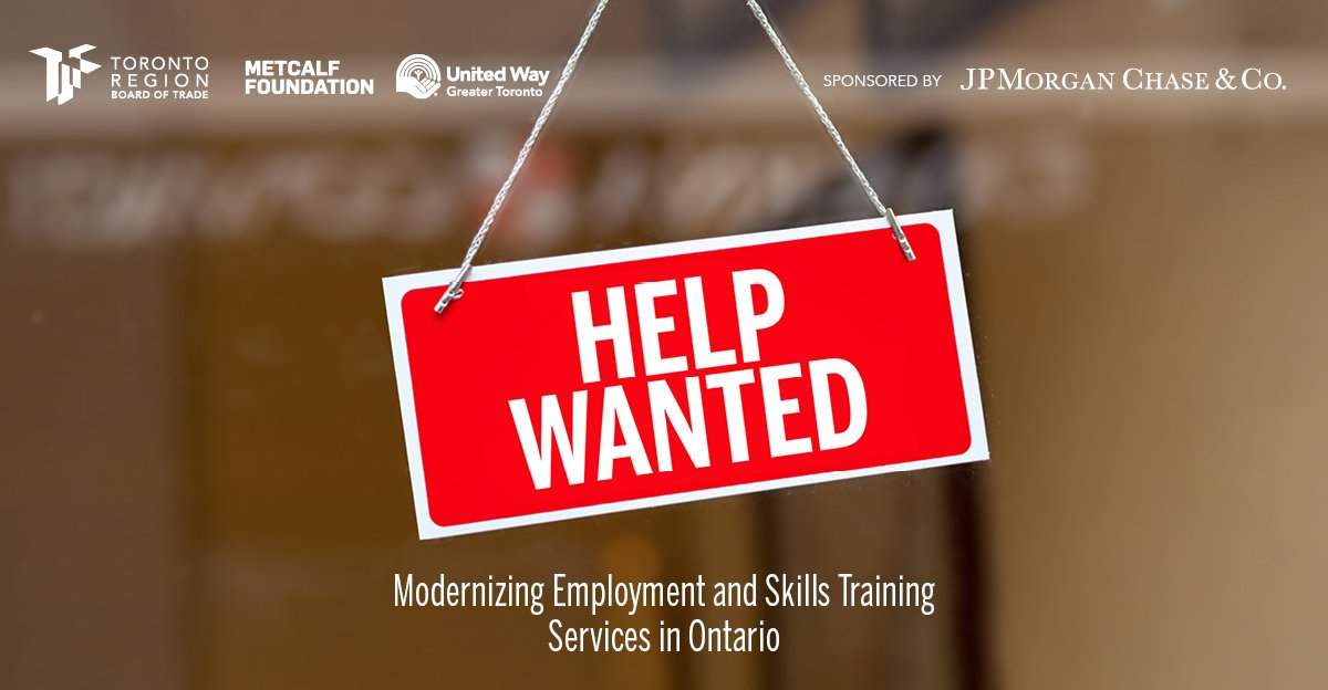Metcalf is proud to partner with @TorontoRBOT and @UWGreaterTO on this important report examining skills training in Ontario. #HelpWanted #ONPoli #Metcalf