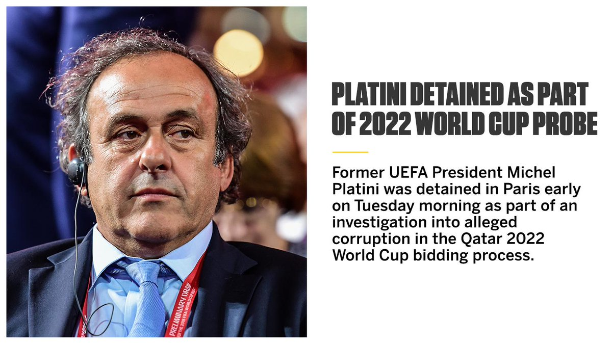 Platini has been detained in France on suspicion of corruption over the 2022 World Cup.