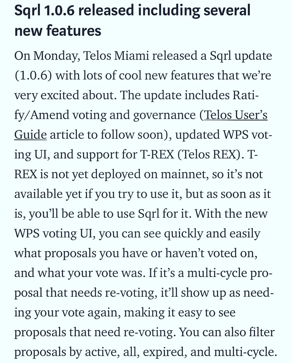 Have you downloaded #Sqrl yet? We have made several updates this week. Download Sqrl by visiting our website today! https://telos.miami #Telos #EOSIO #cryptocurrency #Voting #Governance #Proposals @HelloTelos