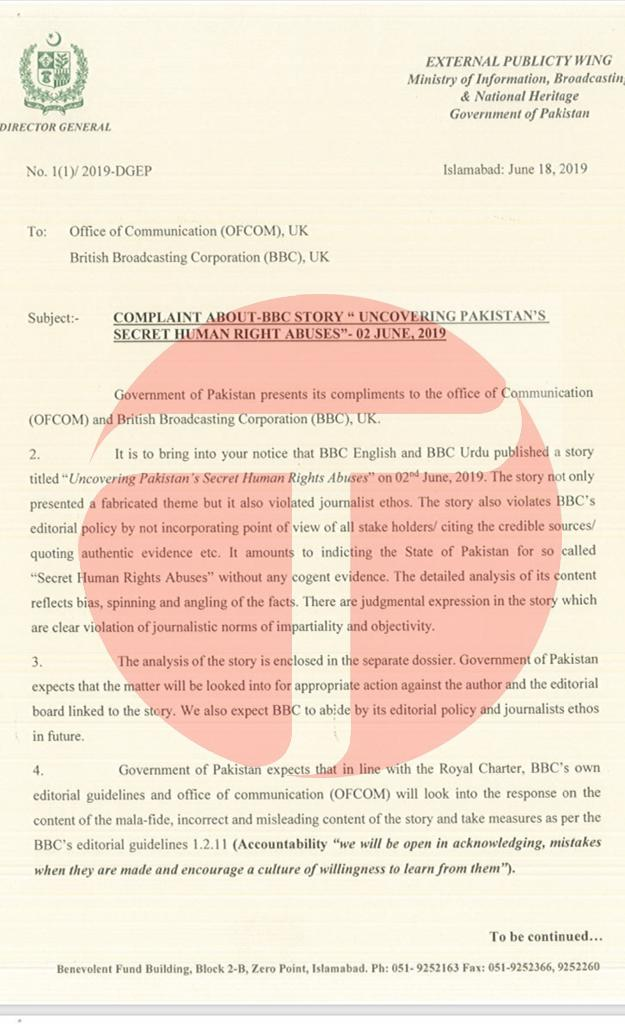 Government has issued a complaint to British government over 'defamatory, malicious' & one sided report published by State-owned BBC & asked for an apology. A 19 page long dossier containing the analysis of the report has been submitted. #Pakistan<br>http://pic.twitter.com/sPh5Mmk5DY