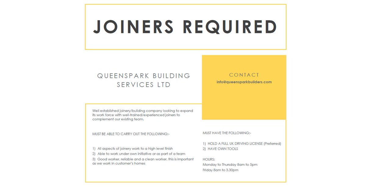 Joiners required with Queenspark Builders in #Glasgow Must have a driving licence and own tools. To apply, email info@queensparkbuilders.com  #GlasgowJobs #Newlands