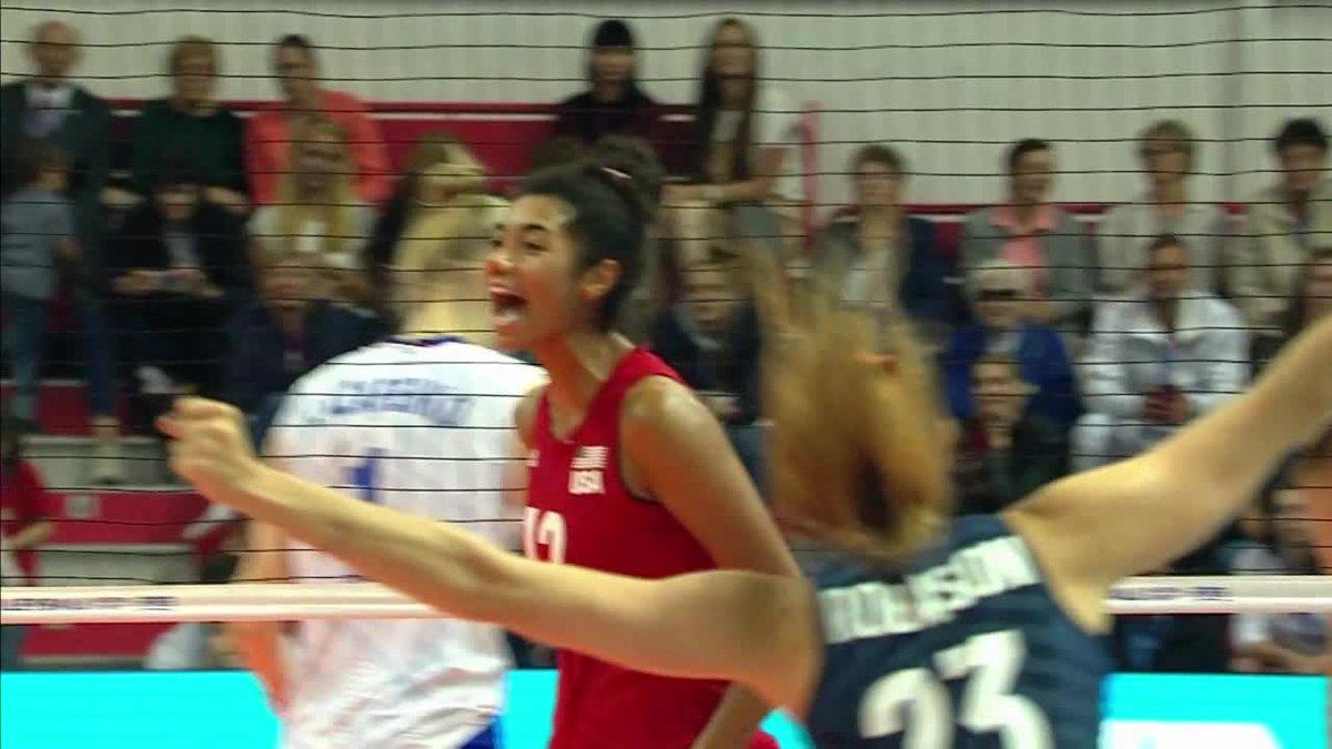 Third time's a charm! 😉 🇷🇺 vs. 🇺🇸  📺 https://volleyballworld.tv/ #BePartOfTheGame #volleyball #VNL #VNLWomen @RusVolleyTeam @USAvolleyball