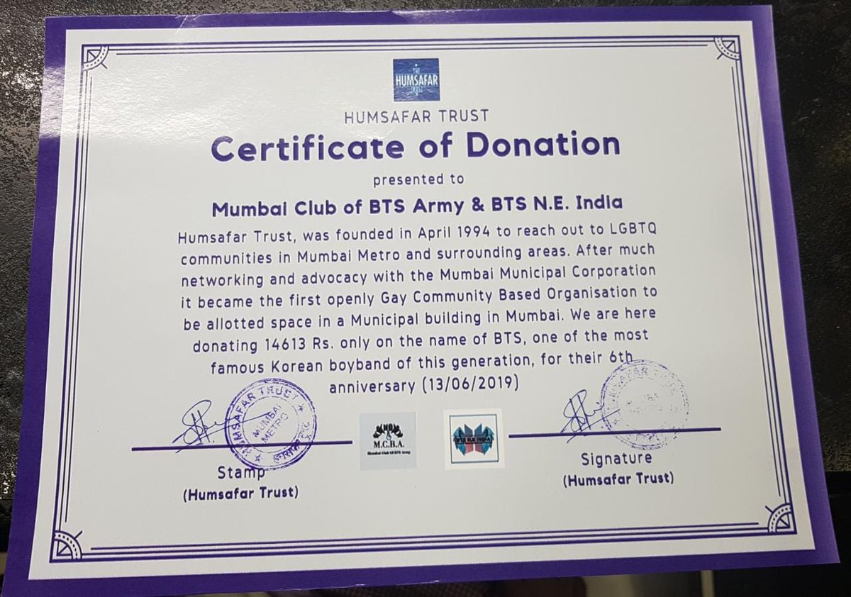 [190613] BTSFESTA2019 We are so proud to announce that our collab with @mumbai_bts succeeded. Northeast is so thankful that we were given a chance to make this charity. Our support is always with LGBTQ+. We are happy. Thank-you to all the N.E. INDIA fanbase @bangtan_india<br>http://pic.twitter.com/NDyWXZhNKu