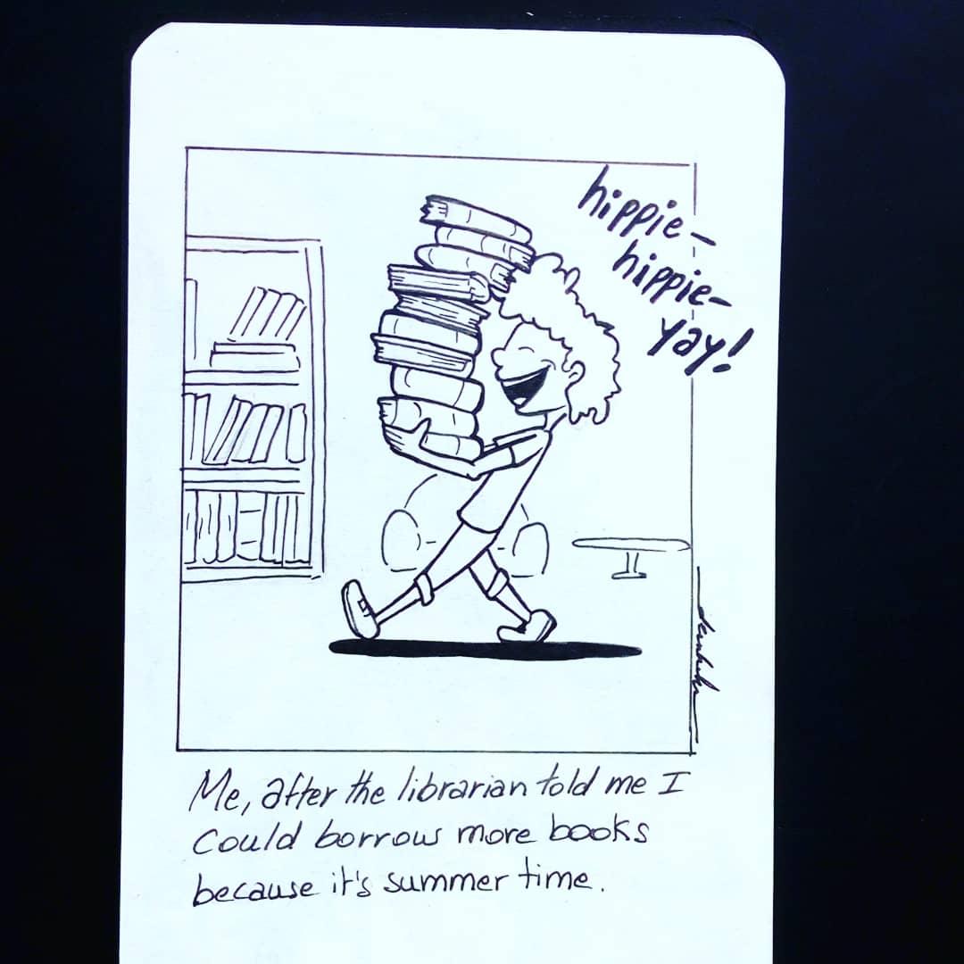 It's summer time reading! #dailyart #dailyillustration #books #library #comicstrips #summertime https://t.co/tMOksymbWb